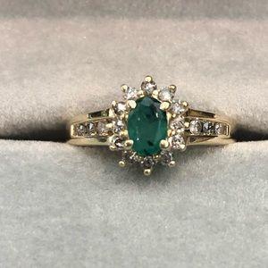 Jewelry - Natural emerald & genuine diamond 10k gold ring
